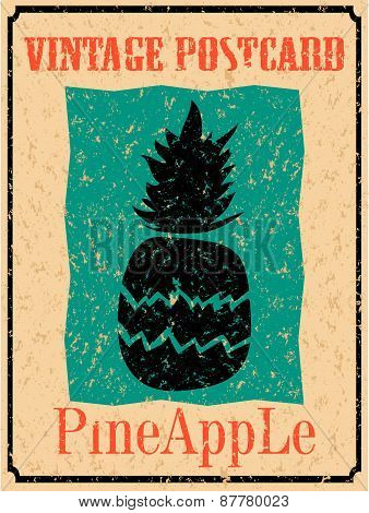 Vintage card with pineapple