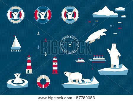 Bears Set On Navy Blue Background
