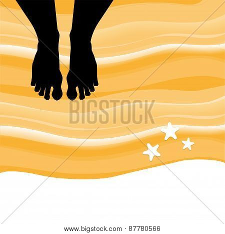 barefoot on the beach with starfish