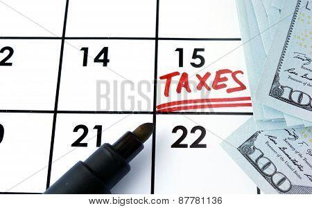 Calendar with word taxes