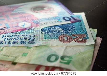 Some Banknotes Of Hong Kong Dollars Close Up