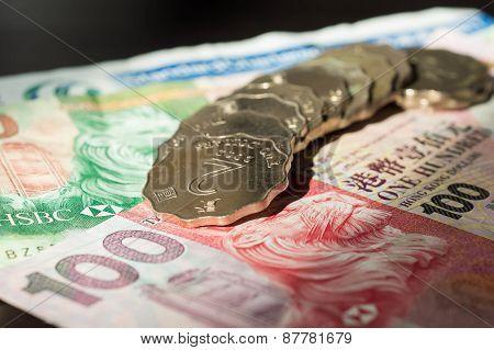 Some Hong Kong Banknotes And Coins