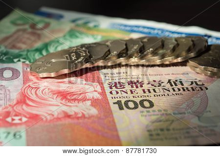 The Hong Kong Dollars And Coins Lit With The Sun