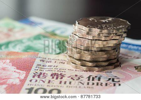 Some Hong Kong Dollars And Coins