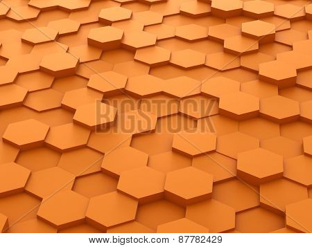 background of 3d orange hexagon blocks