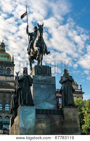 Statue Of St. Wenceslas In Prague In The Czech Republic