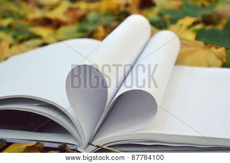 Book pages curved into a shape of heart covered with autumn leaves