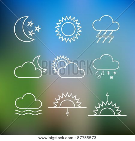 Set of weather flat style icons. Vector illustration.