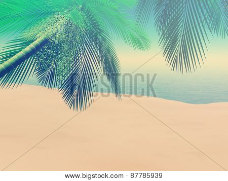3D render of a beach scene with palm trees with a vintage effect
