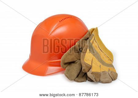 Orange Helmet Work And Protective Gloves On A White Background