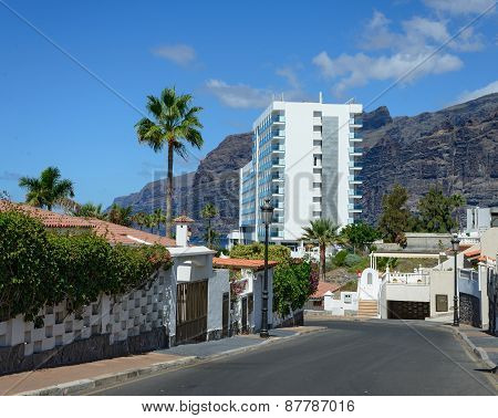 Hibisco Street In Los Gigantes, Tenerife, Canary Islands, Spain.