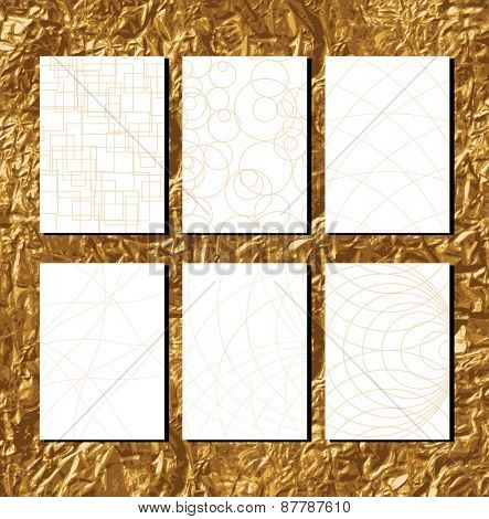 Golden Geometric Patterns with lines for business documents Vector illustration