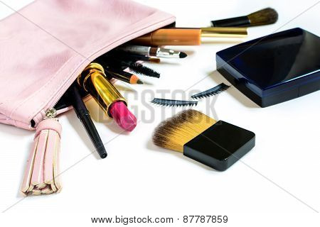 Make Up Bag With Cosmetics Isolated