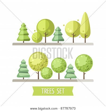 Set of flat trees and pines.