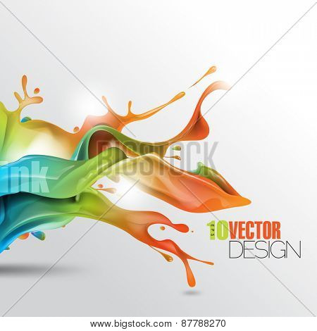 multicolor splash of wet ink paint with shadow eps10 vector background
