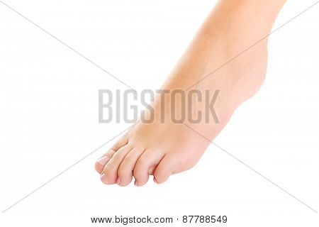 Woman's smooth bare foot with pedicure.