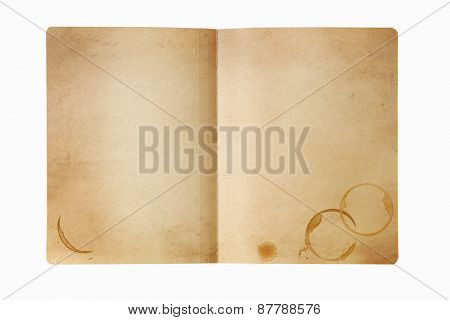 Grunge manila folder, open, with coffee stains.  Isolated on white.