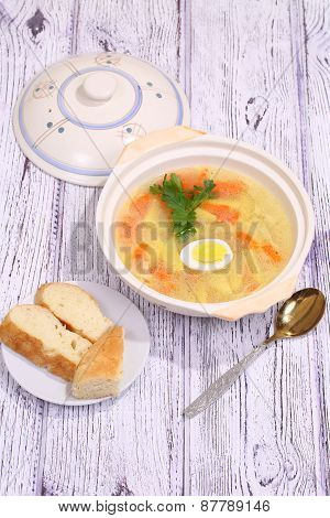 Chicken Soup With Egg And Noodles Submitted To A Soup Tureen