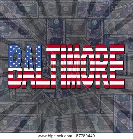 Baltimore flag text on dollars sunburst illustration
