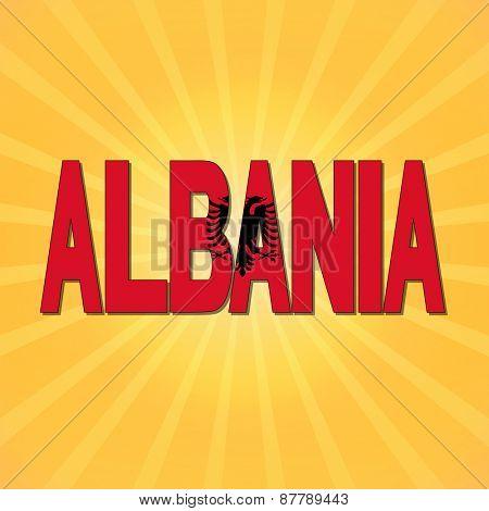 Albania flag text with sunburst illustration