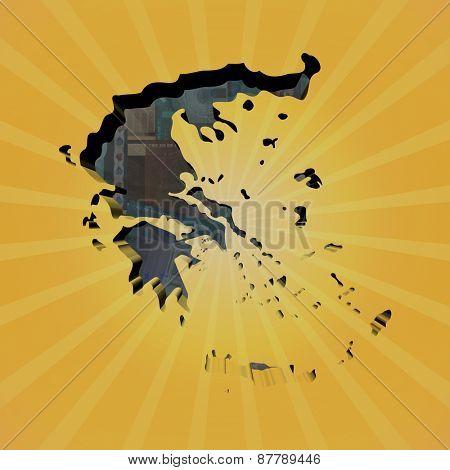Greece map on euros sunburst illustration