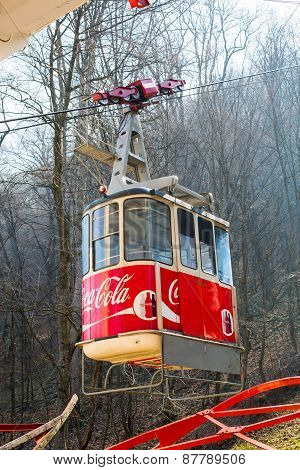Mountain Tampa cable car in Brasov, Romania