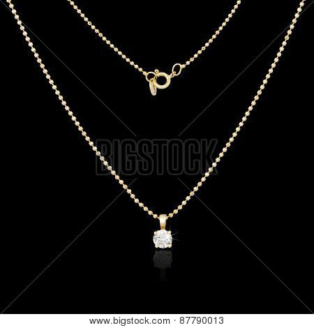 Golden Necklace Isolated On Black Background