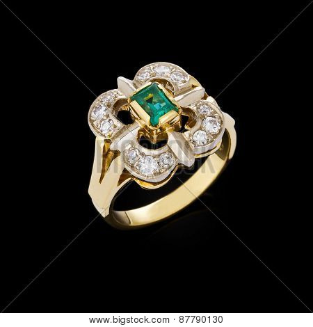 Gold Ring With Diamonds On Black Background