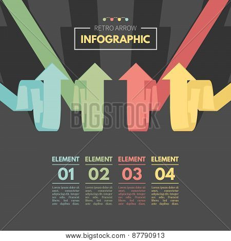 Colored arrow pointing up. Retro color infographics.