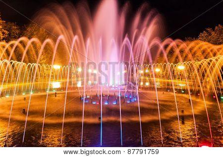 Evening city fountain in Kharkov
