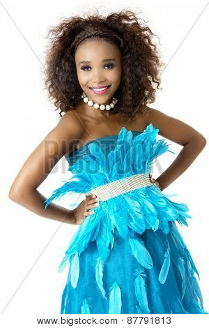 African Female Model Wearing Turquoise Feathered Dress, Big Afro