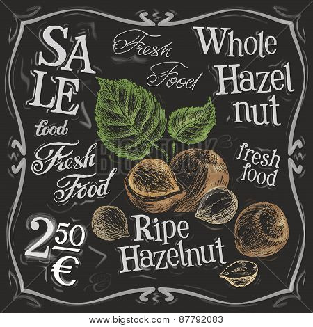 whole hazelnut vector logo design template.  nut, walnut or menu board icon.