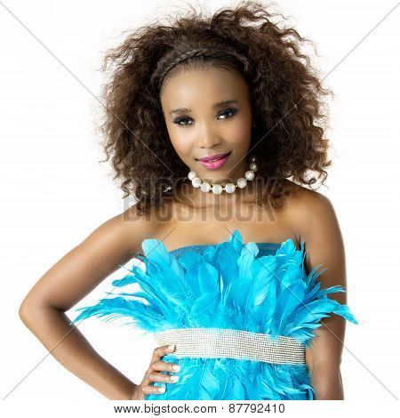 Closeup Portrait of African Female Model Wearing Turquoise Feathered Dress