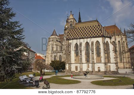 Kosice, Slovak Republic, March 25, 2015: St. Michael Chapel and  St. Elizabeth Cathedral