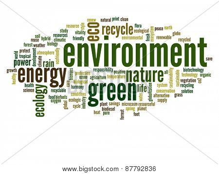 High resolution concept or conceptual abstract green environment and ecology and conservation word cloud text on white background