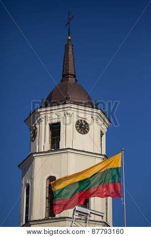 Flag And Belfry Of Vilnius Cathedral