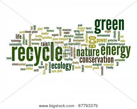 High resolution concept or conceptual abstract green recycle and ecology and conservation word cloud text on white background