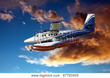Seaplane And Stormy Clouds