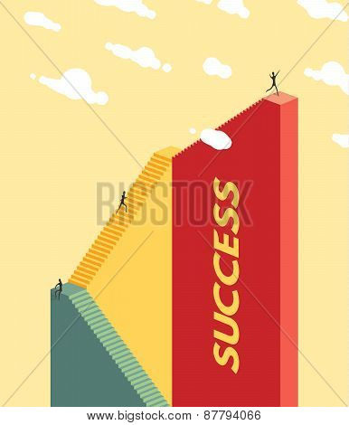 People climb the stairs. Success concept.