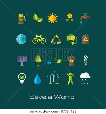 Set of Environment and ecology flat icons. Technology and nature design elements.