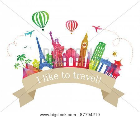 Travel  and Tourism Label. Ancient Architecture of the World. Transportation.