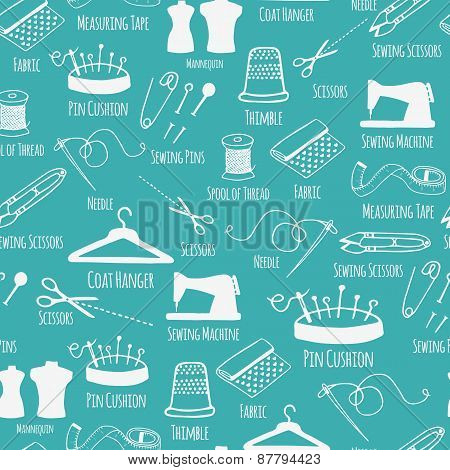 Seamless pattern with sewing and tailoring stuff. Vector illustration.