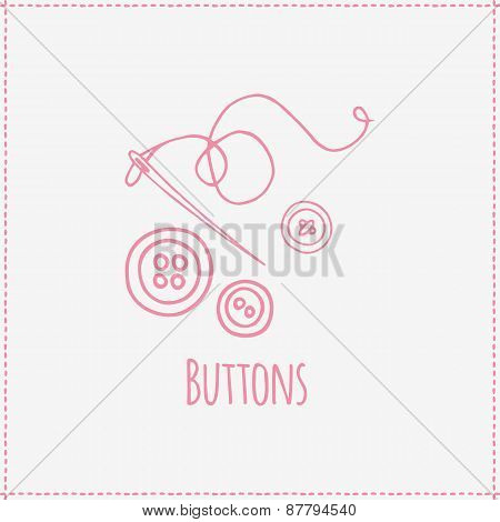 Vector illustration. Hand-drawn buttons and needle.