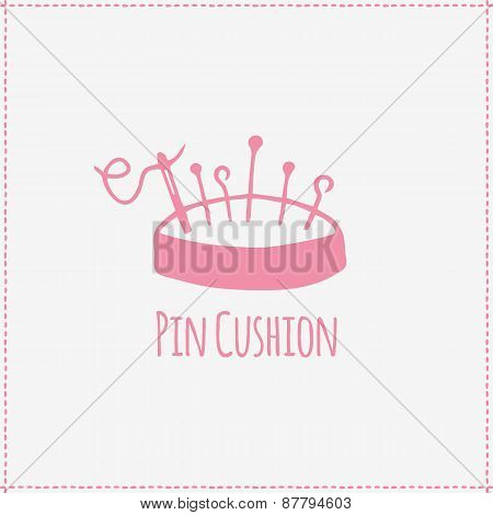 Vector illustration. Hand-drawn pin cushion
