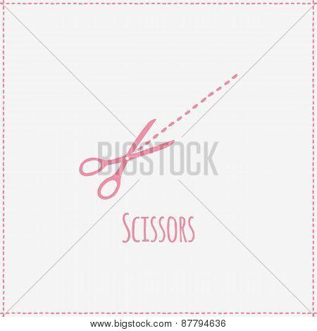 Vector illustration. Hand-drawn scissors