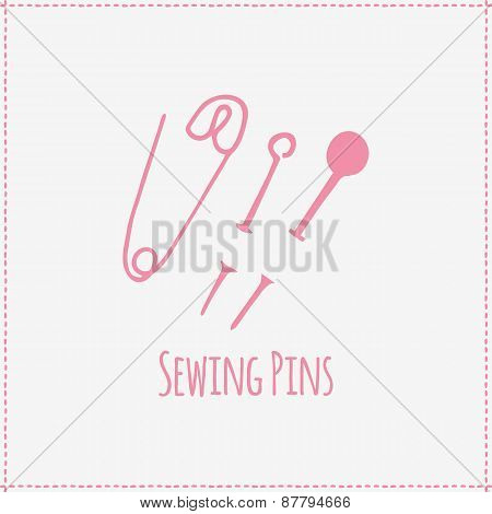 Vector illustration. Hand-drawn sewing pins
