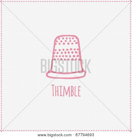 Vector illustration. Hand-drawn thimble