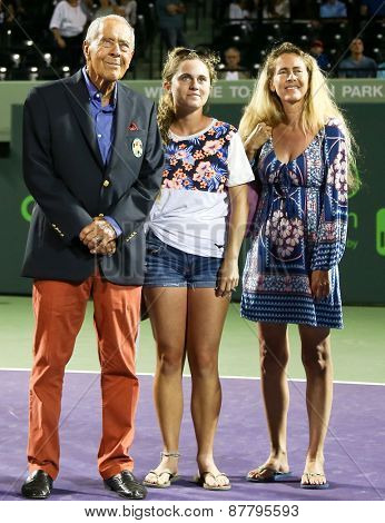 KEY BISCAYNE, FL-MAR 26: Tennis coach Nick Bollettieri (L) watches a video after he receives his International Tennis Hall of Fame ring at Crandon Park on March 26, 2015 in Key Biscayne, Florida.