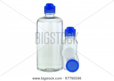 Bottles of Multi-Purpose Contact Lens Solution and a lens case