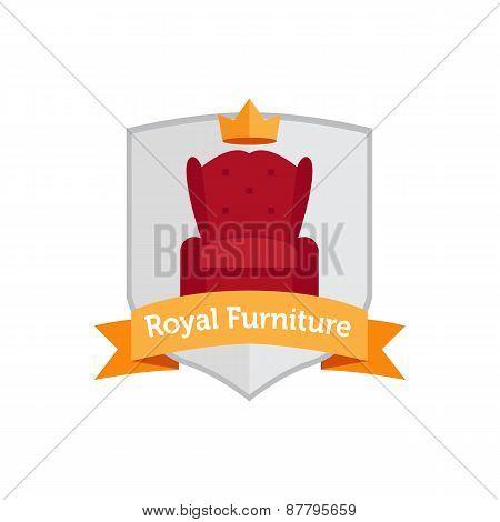 Vector modern flat furniture shop logo